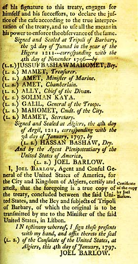 Signers of the Treaty of Tripoli