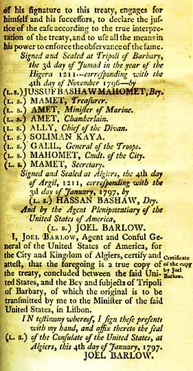 Signers of the Treaty of Tripoli